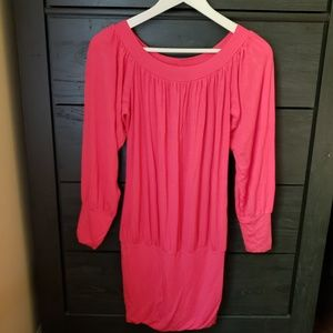 7c7873f268a8a7 Hot Miami Styles Dresses - Coral On Off Shoulder Tunic Top Mini Dress